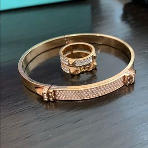 Auth Swarovski bangle and ring